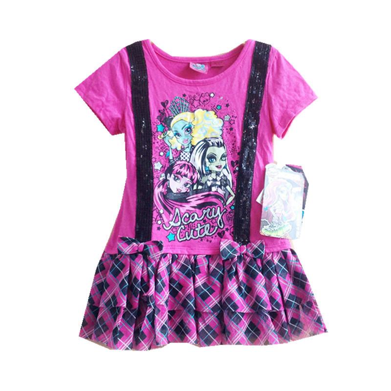 d0557c4f19 Get Quotations · kids girls summer dress monster hight dresses girls casual  cartoon dress bow decorate child party dress