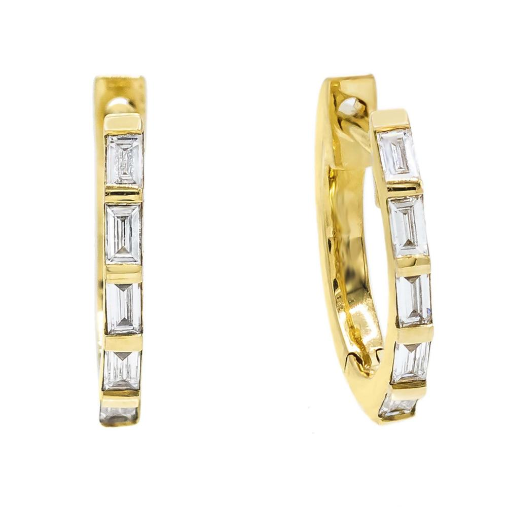 Alibaba.com / LOZRUNVE Amazon Square CZ Crystal Baguette Hoop Earring Silver 925