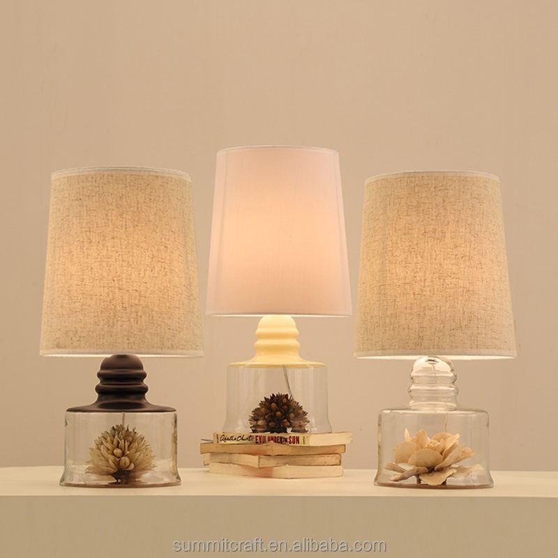 North Europe modern crystal table lamp with dried flower a table lamp