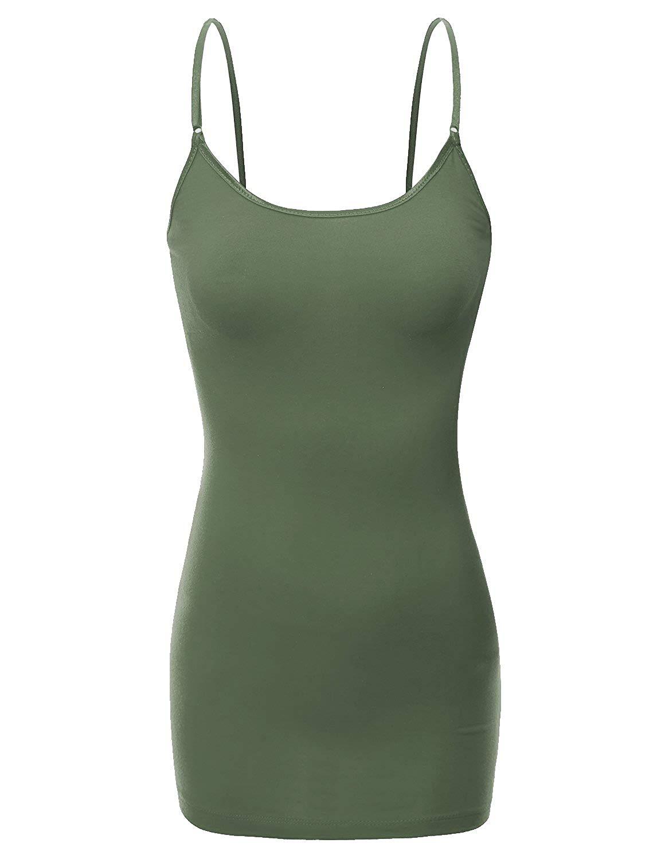 b5e5dcfe9e Get Quotations · Bozzolo Women s Adjustable Spaghetti Strap Built in Bra  Shelf Cami Tank Top Plus Size