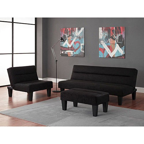 Merveilleux Black   3pc Modern Futon Sofa Living Room Furniture Set: Sofa/Sleeper    Chair