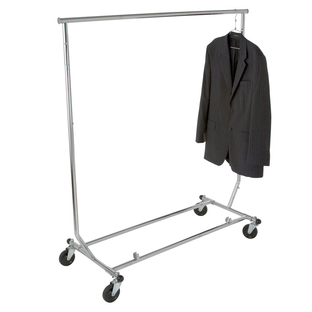 Econoco Collapsable Rolling Clothes Rack- Heavy Duty Collapsible Clothing Rack, Commercial Grade Clothing Display, Round Tubing Rolling Rack, Chrome