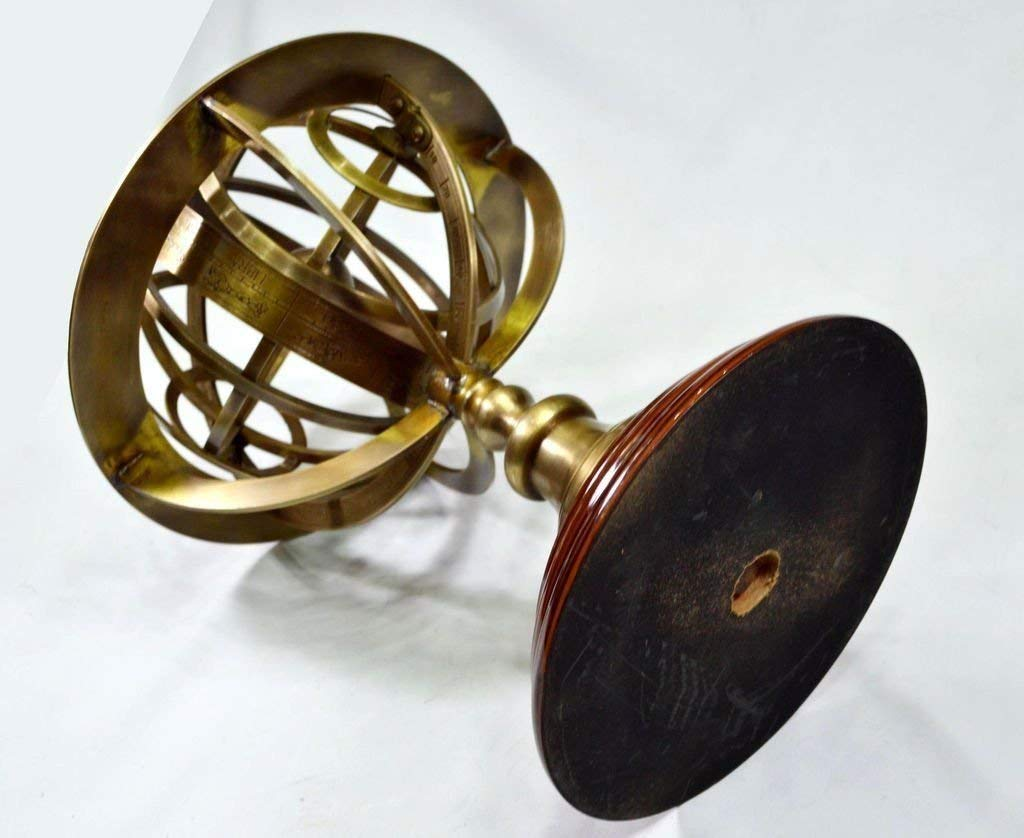 Antique Brass Armillary With Wooden Base Vintage World Sphere Globe B