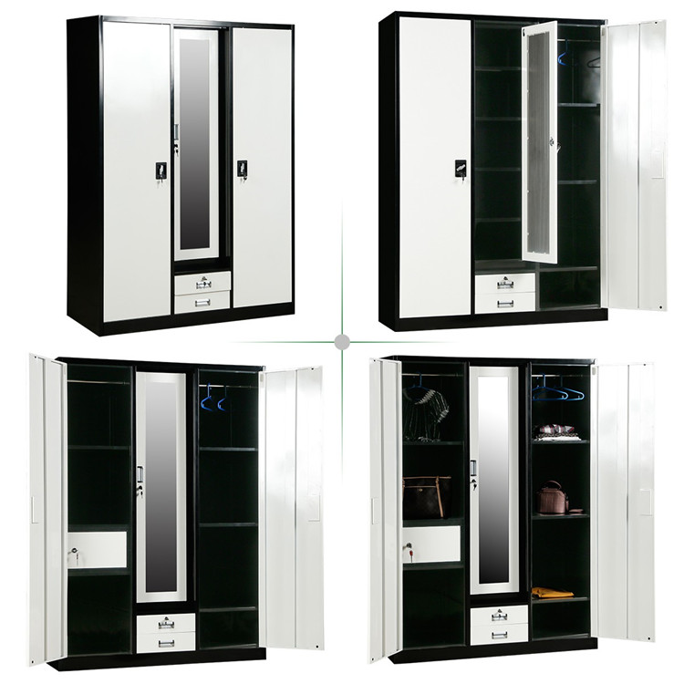 bedroom modular folding wardrobe closet cabinet with mirror