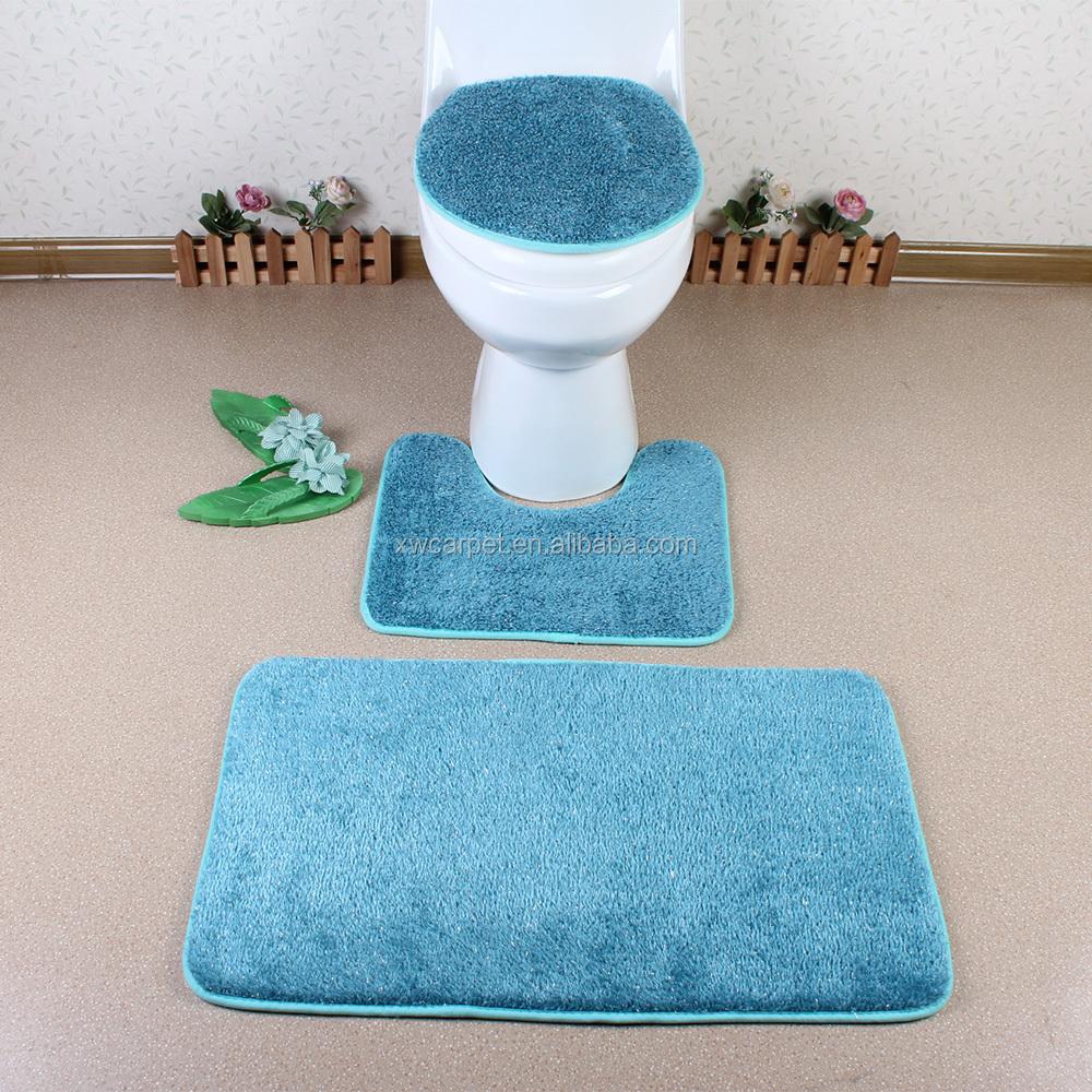 Long Pile Bathroom Mat Sets Waterproof 3 Piece Bath Rug