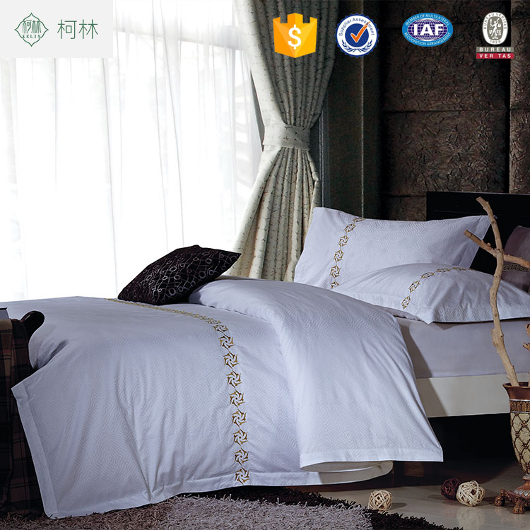 high quality jacquard embroidery 60s hotel bed sheet bedding sets