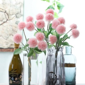 Home Decoration Bouquet Artificial Fluffy Cone Plastic Fur Ball Flowers