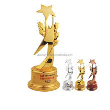 Laying solid star metal trophy figurines