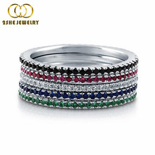Emerald Black Red Blue Gem Stone Vogue Luxury Eternity Ring