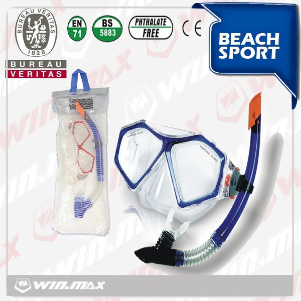 2015 Best selling easy diving set /tempered glass mask with top quality snorkel/silicone sea,swimming pool equipment