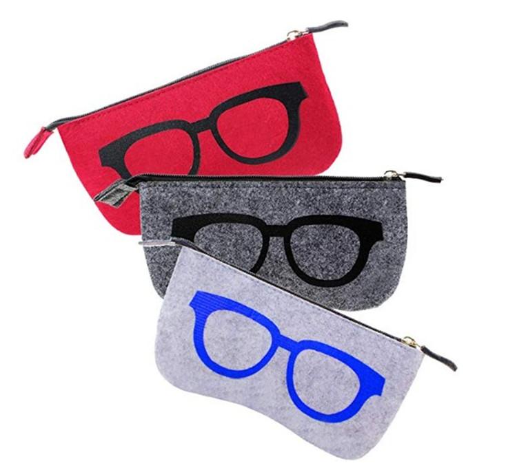 cheap eyeglasses bag soft zipper glasses case felt sunglasses pouch, Grey or custom