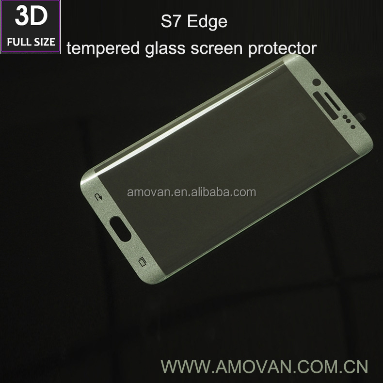 3D full cover s7 mobile phone tempered glass screen protector for Samsung s7 edge