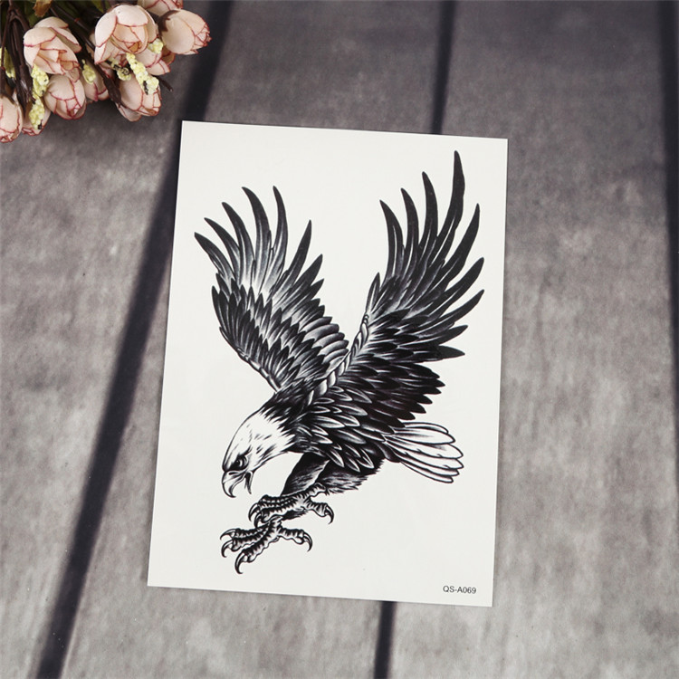 Eagle Wolf Skeleton Character Pattern Black Body Waterproof Temporary Tattoo Sticker