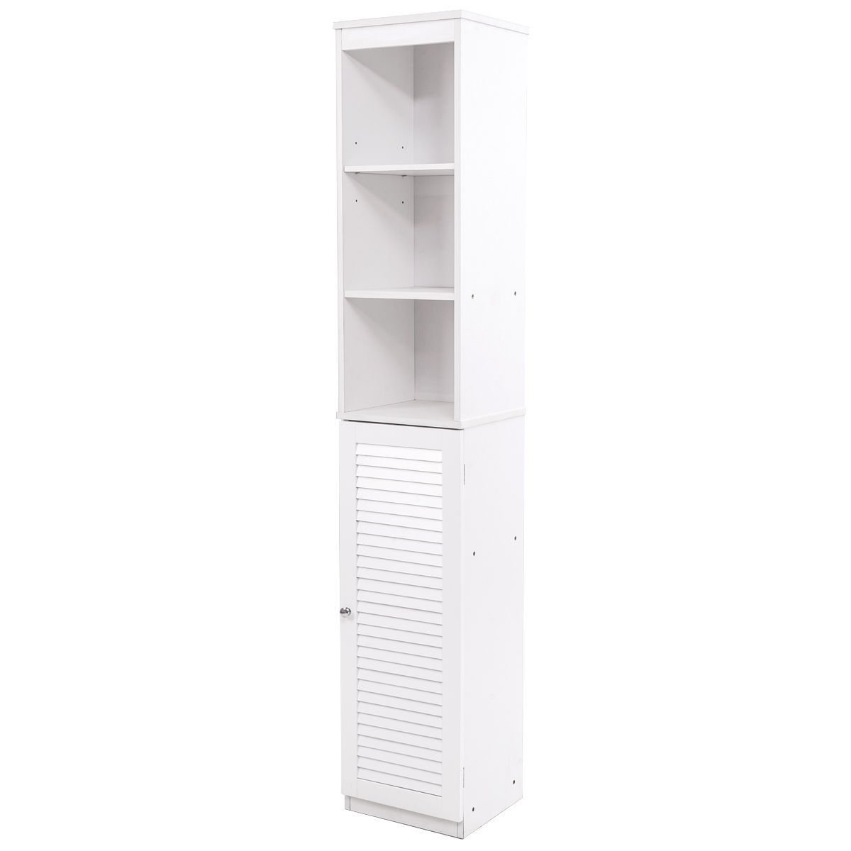 "Tall Bathroom Tower 71"" Cabinet Louvered Shelf Organizer Storage Wood White"