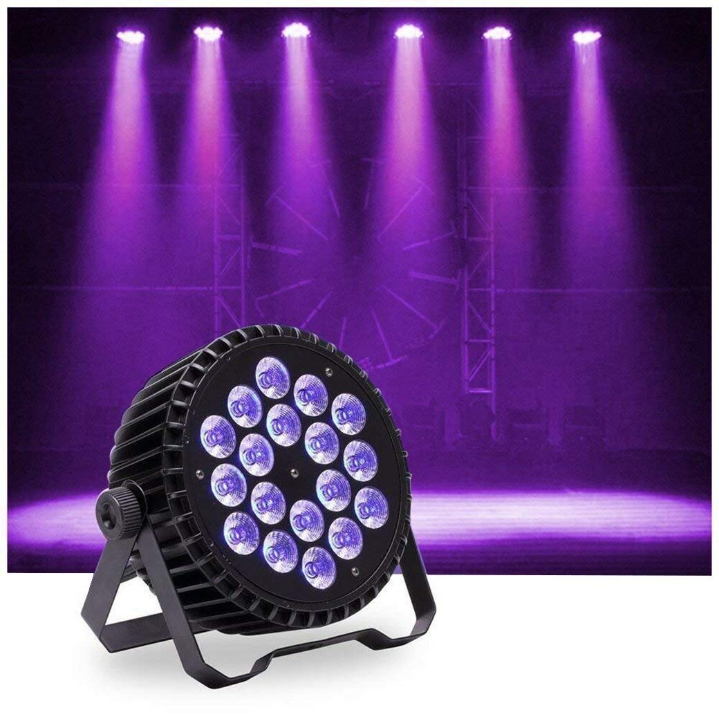 U`King LED Up Lighting Par Lights with 60 LEDs RGB Stage Light by DMX Control for Party Disco Wedding Bar Show Stage Effect Lighting (18LEDs)