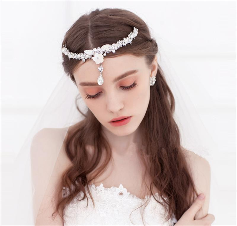 Shell Flower Forehead Tiara Headband Pearl Head Chain Hair Jewelry Rhinestone Tiaras And Crowns Wedding Hair Accessorie WIGO0601