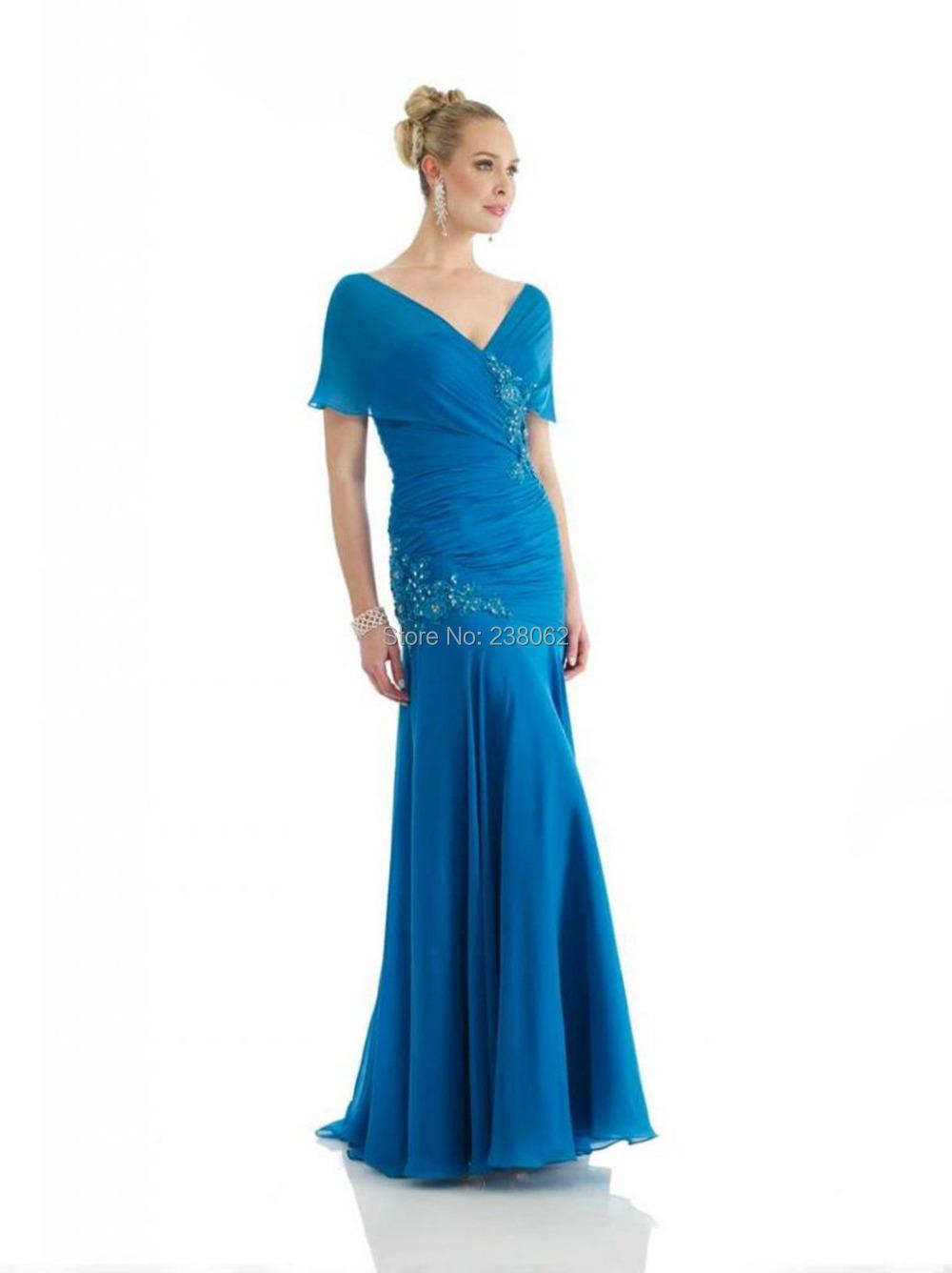 V Neck Mermaid Blue Prom Dresses Open Back Evening Party ...
