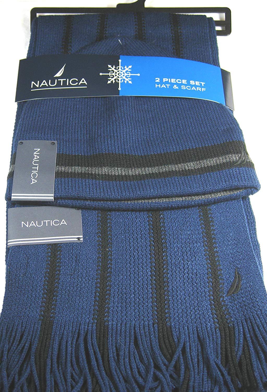 173ca71cf642f Get Quotations · Nautica 2 Pc. Men s Hat   Striped Scarf Set Blue Black  100% Acrylic