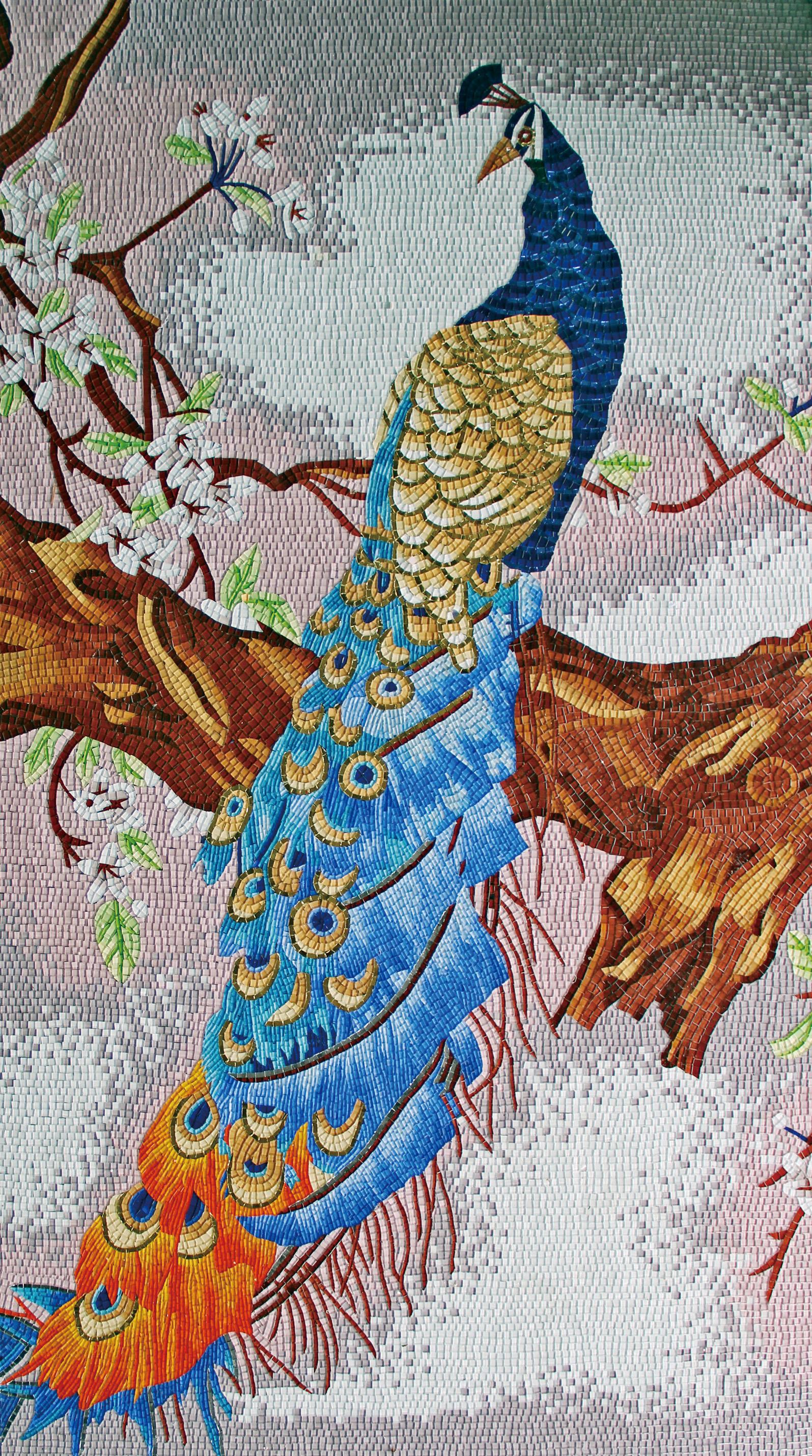 Ice Onyx Symphony Mirror Glass Mosaic Peacock Animal