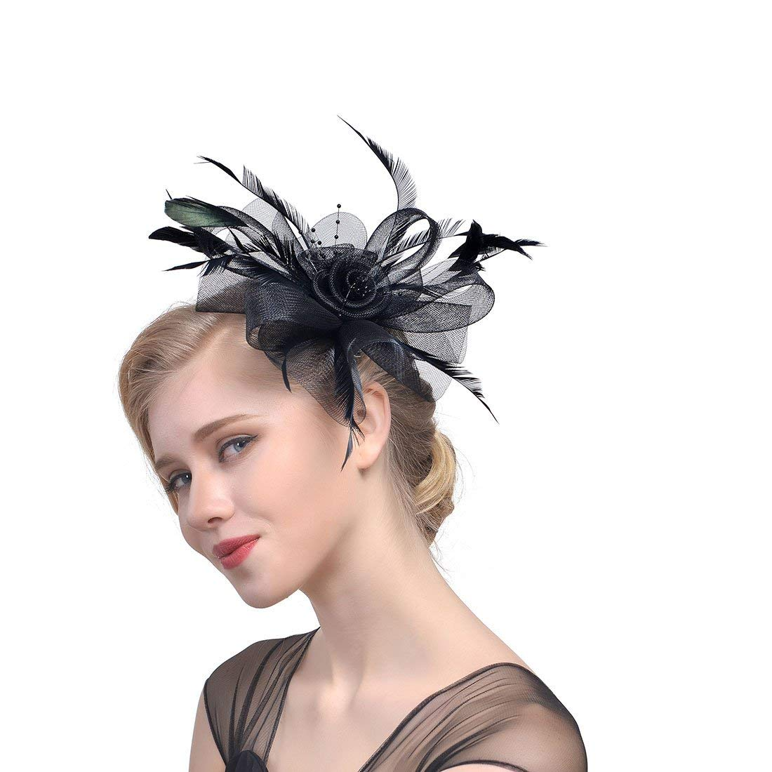 Gerilea Womens Feather Fascinators Hat Party Cocktail Flower Bridal Headpieces