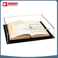 Clear acrylic locking book display case/plexiglass book display case/plastic flowers box