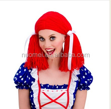 Newlook S0341Rag Doll Wig red long women wig halloween birthday christmas cosplay synthetic party wig