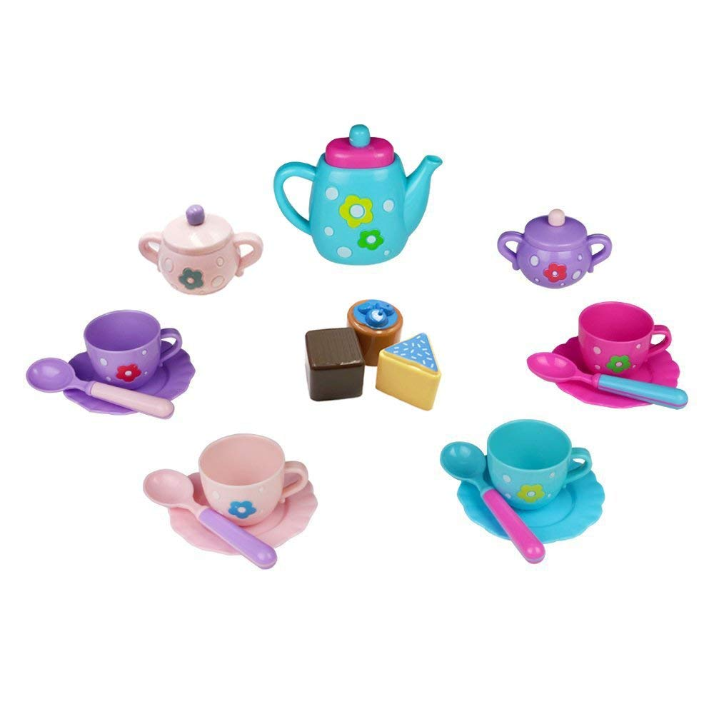 Tea Set Pretend Play Set Teapot Toy Role Play Party Dessert Food for Kids, Girls, Birthday Christmas Gift, Theme Party 3+ Years old 18 PCS