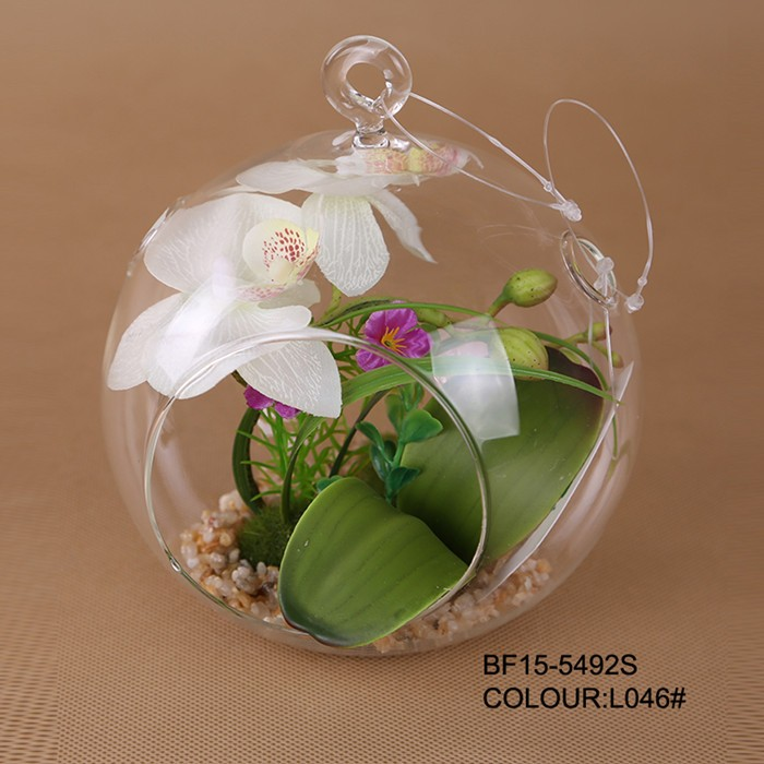 Artificial hanging orchid flower arrangements hanging flower pot in glass pot