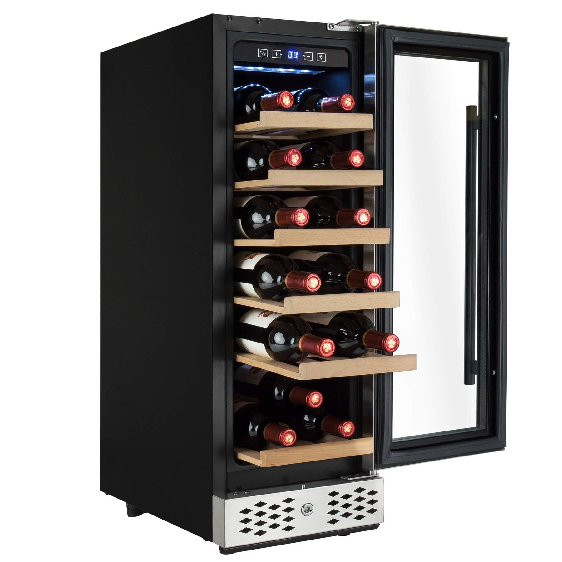 AKDY 18 Bottle Single Zone Freestanding Adjustable Temperature Touch Control Wine Cooler w/ Built-in Compressor