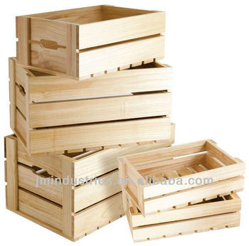 Set of 5 cheap wooden crates with fsc certificate buy for Where do i find wooden crates
