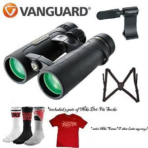 Vanguard Endeavor ED II Binocular (10x42) Sport Bundle w/ Vanguard Optic Guard + Vanguard Binocular Adapter BA-185 + 4pc Cleaning Kit + Free Nike T-shirt and Nike Socks Dr- Fit 3 pack
