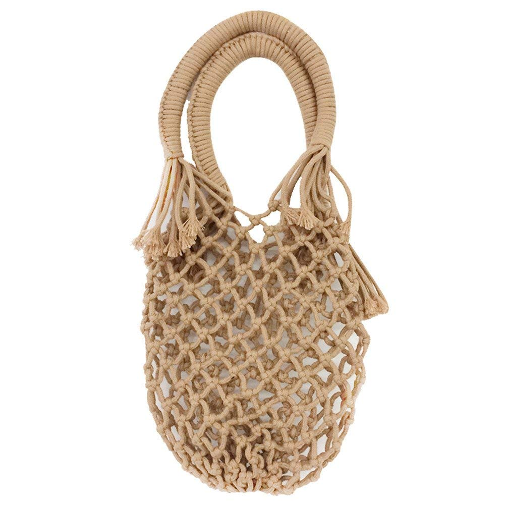 Get Quotations · Samber Pure Color Net Pocket Hand-Woven Bag Summer  Vacation Beach Bag Cotton Handbag Women s 7de81c46539cc
