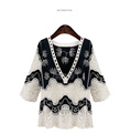 Spring Fashion Vintage Flower Lace Women Shirt Classic Black And White Color Elegant Sexy V Neck Shirt