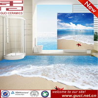 new beach 3d design ceramic floor bathroom tile