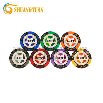 14g Clay Crown Wheat Casino Poker Chip With Shiny Star Sticker