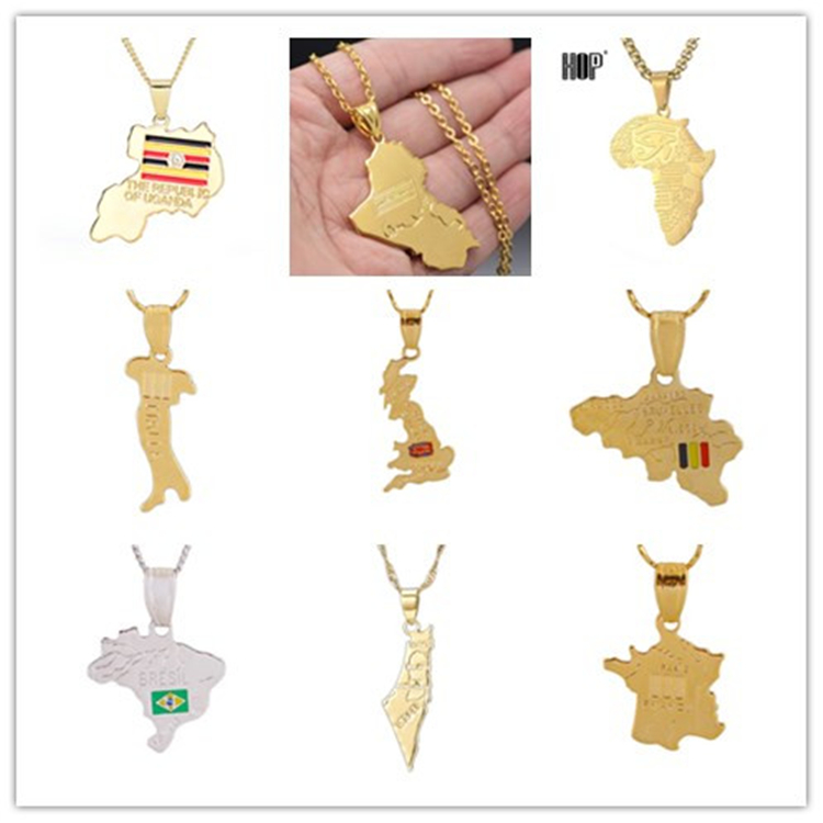 Fashion Cloth Accessories Flag Of Brazil Map Necklace Platinum Plated Brazil Map Pendant Necklace