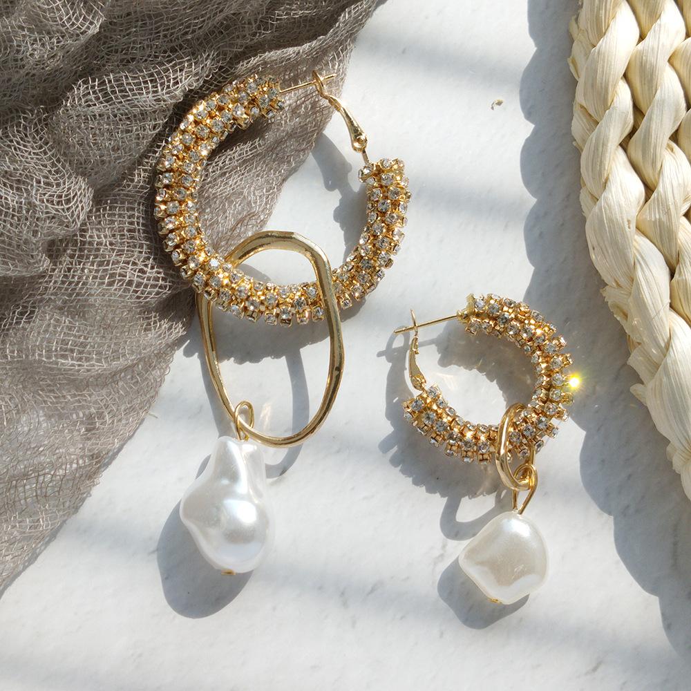 BY006 Huilin S925 silver pin European and American fashion geometric triangle diamond earrings wild ladies earrings