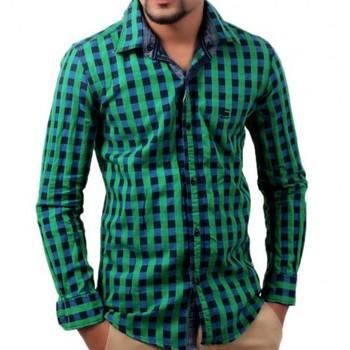 Groen Geruit Overhemd.Wees Kraag Groene Geruit Overhemd Heeft Vaste Capuchon Lange Mouwen