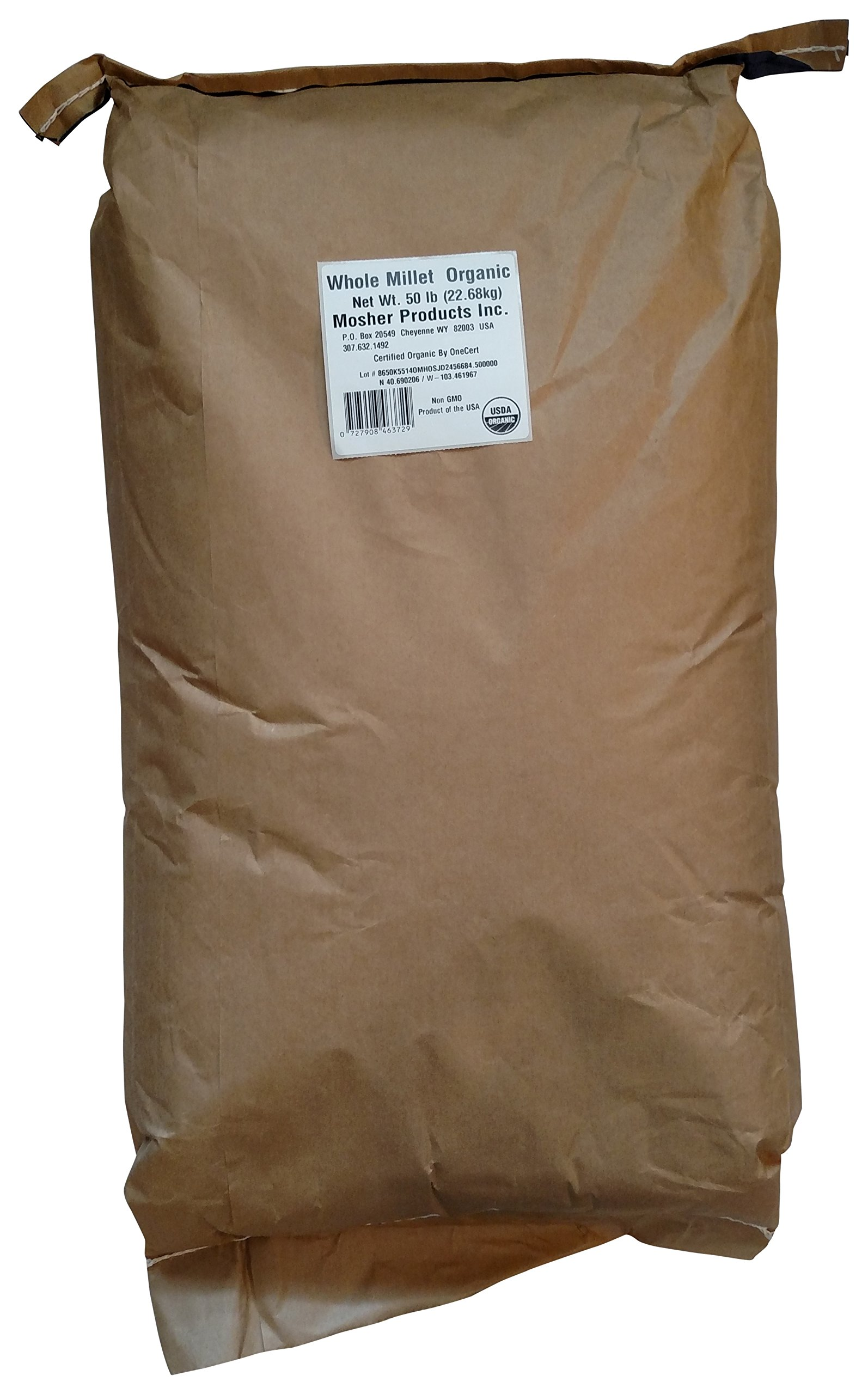 Mosher Products Organic Whole Millet Bag, 50 Pound