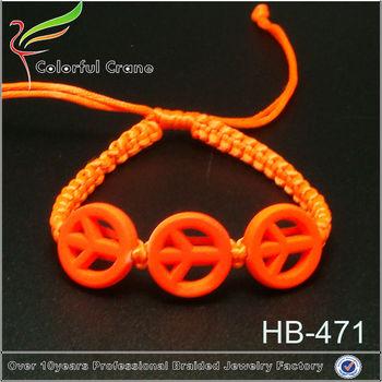 Fashion Orange Cord Meaning Braiding Peace Symbol Bracelet Whole