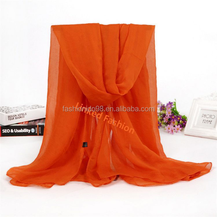 stock pareo fashion new design plain print chiffon scarf solid sarong pareo Assorted Colors