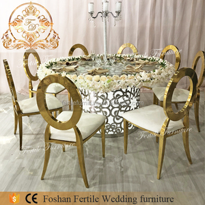 Stainless steel base floral design glass top round wedding led table