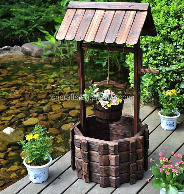 Real Wood Wishing Well With Roof Lawn Decor - Buy Wedding