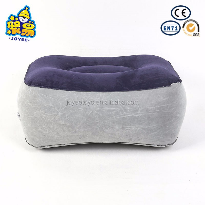Wedge shaped flocking pvc inflatable footrest pillow