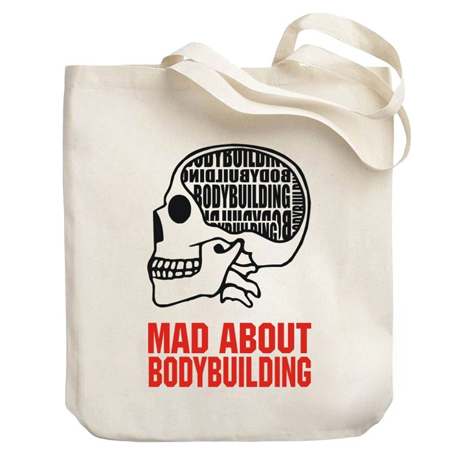 Teeburon MAD ABOUT Bodybuilding SKULL Canvas Tote Bag
