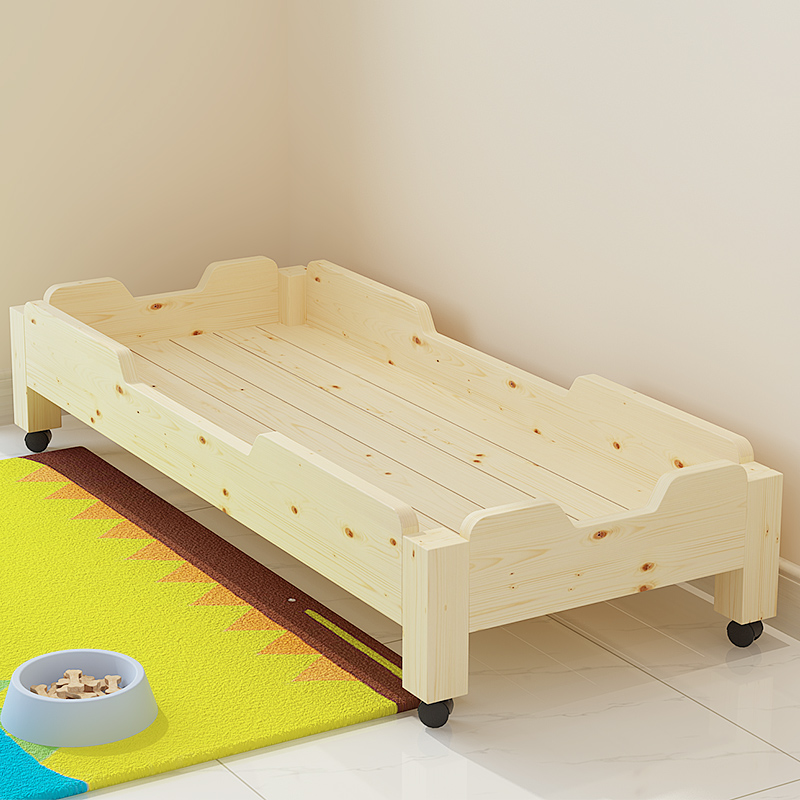 SG003 Nursery bed with wheel wood child bed Stackable Cot Bed For Child,bedding set
