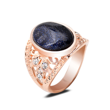 Top Quality Gem Stone Rings Natural Dark Blue Sandstone Oval Large Rings For Unisex