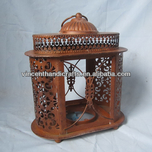 craft candle holder Holiday decor vintage rusty metal lantern, metal candle stand arab lantern