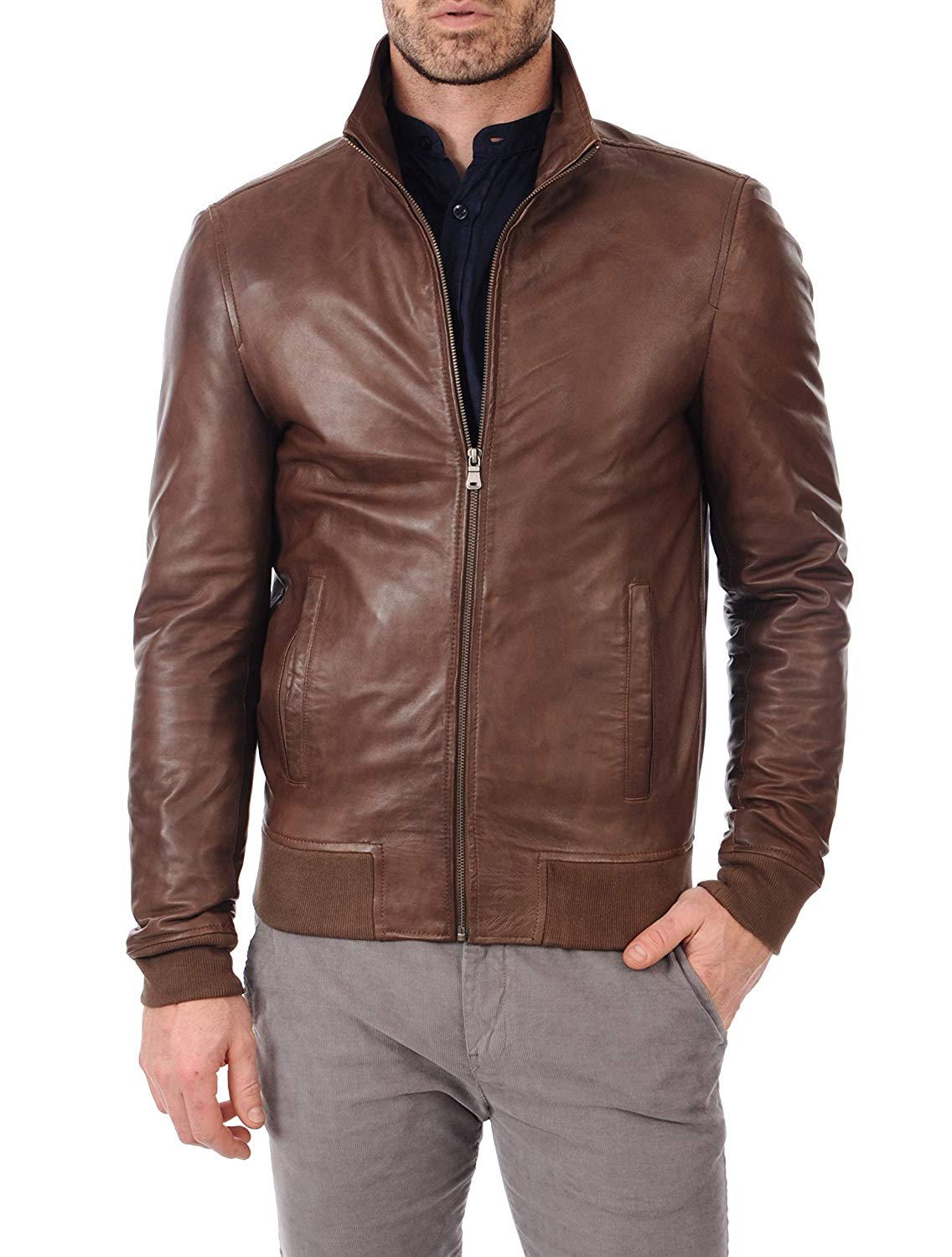 c61e1bd37a13f Get Quotations · Mens Leather Jackets Motorcycle Biker Bomber Brown Real  Leather Jackets Men