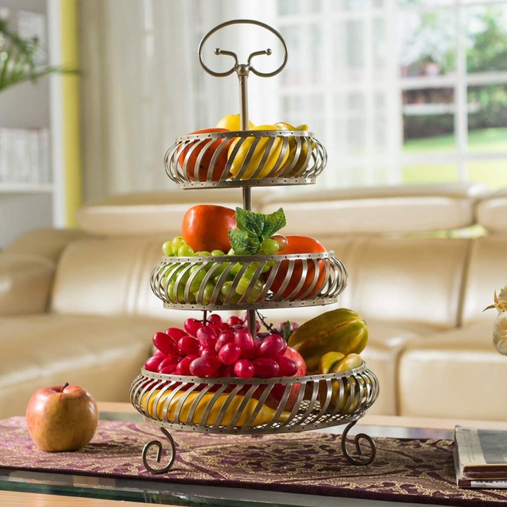 Get Quotations Zfgg Wrought Iron Three Layer Fruit Basket Living Room Kitchen Vegetable Rack Storage